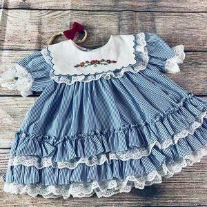 Vintage 0-3m Seersucker Ruffle lace dress & bow